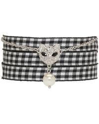 Miu Miu - Silver Cat Pearl Charm Bracelet - Lyst