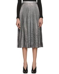 70e5c4fb8b Christopher Kane - Black And Silver Lame Mesh Pleated Skirt - Lyst