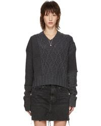 McQ - Grey Patched Cable V-neck Jumper - Lyst