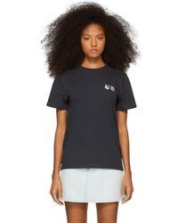 Maison Kitsuné - Grey Double Fox Patch T-shirt - Lyst