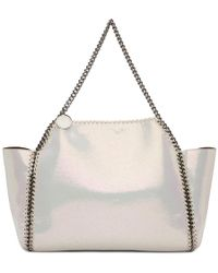 Stella McCartney - Reversible White And Burgundy Shaggy Deer Falabella Tote - Lyst
