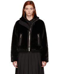 DSquared² - Black Faux-fur Jacket - Lyst