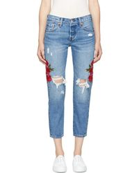 Levi's - Blue Embroidered 501 Taper Jeans - Lyst