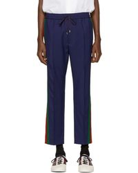 Gucci - Navy Wool Cropped Trousers - Lyst