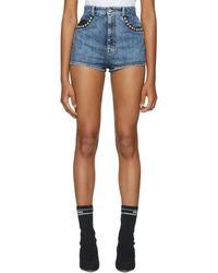 Miu Miu - Blue Mini Denim Shorts - Lyst