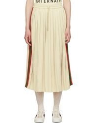 Gucci - White Pleated Webbing Drawstring Skirt - Lyst