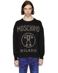 Moschino - Black Studded Logo Sweatshirt - Lyst