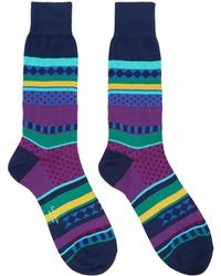 Paul Smith - Navy Fairisle Jacquard Socks - Lyst