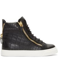 Giuseppe Zanotti | Black Croc-embossed London High-top Trainers | Lyst
