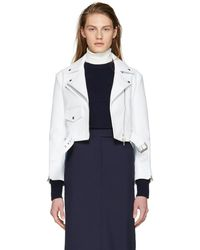 CALVIN KLEIN 205W39NYC - White Cropped Leather Biker Jacket - Lyst