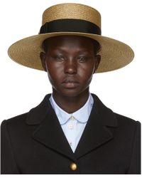 Gucci - Gold Straw Hat - Lyst