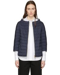 Herno | Reversible Down Navy And Silver Three-quarter Sleeve Jacket | Lyst