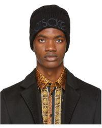 Versace - Black Logo Beanie - Lyst