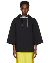 Opening Ceremony - Black Short Sleeve Banded Hoodie - Lyst