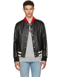 Gucci - Black Leather 'hollywood' Bomber Jacket - Lyst