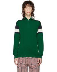 Gucci - Green Striped Zip Sweater - Lyst
