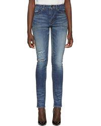 Saint Laurent - Blue Used Denim Jeans - Lyst