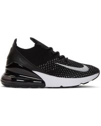 Nike - Black And White Flyknit Air Max 270 Trainers - Lyst