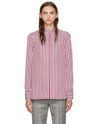 Alexander McQueen - Burgundy And White Slash Cuff Striped Shirt - Lyst