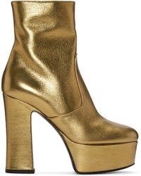 Saint Laurent - Gold Platform Candy Boots - Lyst