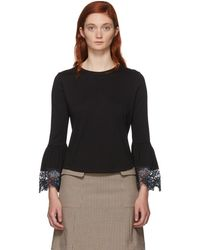 See By Chloé - Black Lace Wrist Loose Fit T-shirt - Lyst