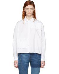 McQ - White Cropped Ruffle Shirt - Lyst