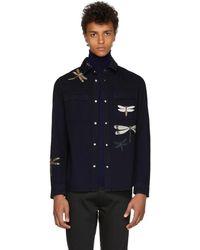 Valentino - Blue Dragon Fly Shirt Jacket - Lyst