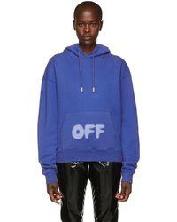 Off-White c/o Virgil Abloh - Blue Blurred Logo Hoodie - Lyst