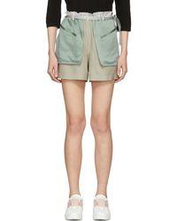 Valentino - Grey And Green Silk Hammered Shorts - Lyst