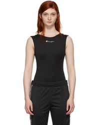 Champion - Black Jersey Logo Bodysuit - Lyst