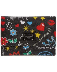 Dolce & Gabbana - Black Small Graffiti Trifold Wallet - Lyst