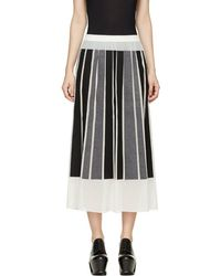 Viktor & Rolf - Ivory Silk Gorgette Black & Grey Paneled Skirt - Lyst