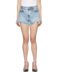 Alexander Wang - Blue Denim Bite Zip Shorts - Lyst