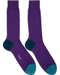 Paul Smith - Purple Plain Contrast Socks - Lyst