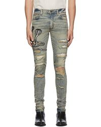 Amiri Blue Art Patch Snake Jeans - Multicolor