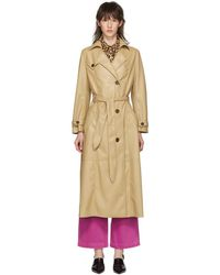 Nanushka - Beige Vegan Leather Trench Coat - Lyst