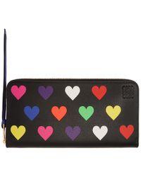 Loewe - Black Hearts Zip Around Wallet - Lyst