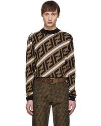 Fendi - Pull en laine brun Forever - Lyst