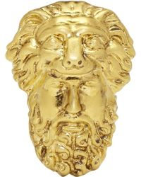 Gucci - Gold Hercules Mask Ring - Lyst