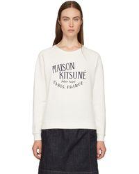 Maison Kitsuné - White Palais Royal Logo Sweatshirt - Lyst