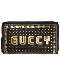 Gucci - Black Sega Guccy Zip Wallet - Lyst