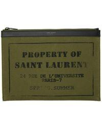 Saint Laurent - Khaki Property Of Tablet Holder - Lyst