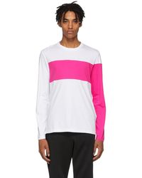 Helmut Lang - White And Pink Logo Band Long Sleeve T-shirt - Lyst