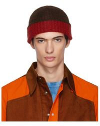 Marni - Red And Brown Jersey Beanie - Lyst