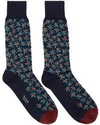 Paul Smith - Navy Torn Floral Socks - Lyst