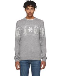 Tiger Of Sweden - Grey Tiger And Snowflake Leach Pullover - Lyst