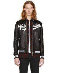 Valentino - Black Leather Logo Patches Bomber Jacket - Lyst