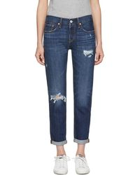 Levi's - Blue 501 Taper Distressed Jeans - Lyst