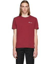 Champion - Burgundy Small Script Logo T-shirt - Lyst
