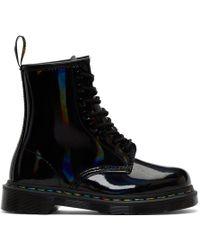 Dr. Martens - Black Iridescent Rainbow 1460 Boots - Lyst
